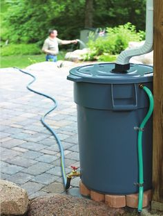[][][]Once I get gutters added to my house, I'm making this. Storing rainwater for use on drier days to water my yard for FREE! Reusing rainwater. Can't go wrong with this idea.