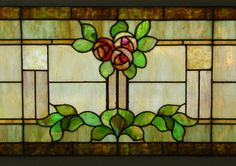 craftsman stained glass | ... Oak Furniture - Large Vintage Arts and Crafts Stained Glass Window