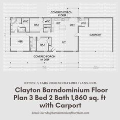 $595. Clayton 3 Bed – 2 Bath – 1,860 sq. ft.– with Carport. We sell semi-custom Barndominium floor plans and provide helpful tips to design and build your home whether it is DIY or you are paying a company. #architecture #barndominiums #home #modernbarn #barnhomefloorplans #beautifulbarn #homefloorplan #barnhomedesign #housedesign #barndominiumfloorplans #floorplan #dreambarn #barnhouse #barndominiumliving #carport #barndominiumdesign #barndominiumdesign #barn #barns #garage #shop