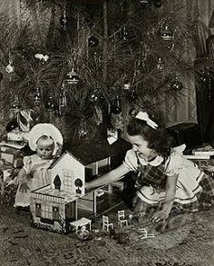 Girl playing with a dollhouse near a Christmas tree Poster Print x Old Time Christmas, Christmas Scenes, Christmas Makes, Christmas Past, Christmas Morning, Christmas History, Celebrating Christmas, Vintage Christmas Photos, Retro Christmas