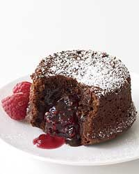 Molten Chocolate Cake with Raspberry Filling Recipe from Food & Wine