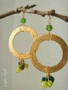 Absolute Green - handmade paper earrings made of cotton paper and faux gold leaf. Glass and giada beads