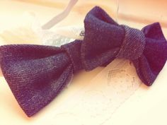Denim Bow-Tie and baby lace Head-Bow