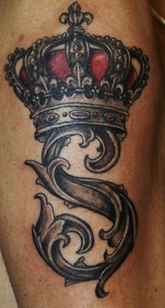 gothic style letter s crown tattoo - Crown tattoos
