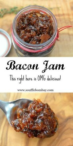 Bacon Jam Recipe Top you burger, grilled meats, salads or eggs with this delicious jam. Delicious on bread or as a component of a grilled sandwich! Jelly Recipes, Bacon Recipes, Appetizer Recipes, Burger Recipes, Jalapeno Recipes, Appetizers, Bacon Jam Canning Recipe, Recipes Using Bacon Jam, Easy Jam Recipes