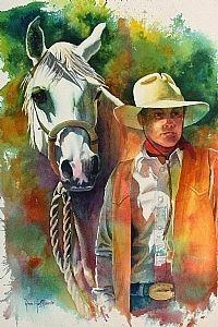 """Waiting by Ann Hoffpauir Watercolor ~ 21 1/4"""" x 14 1/2"""""""