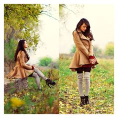 coat All these autumn leaves are yours tonight ❤ liked on Polyvore featuring outfits, models, lookbook, people and pictures