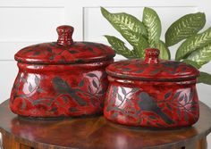 Uttermost Siana Red Ceramic Canisters Set/2 19660