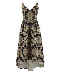"""Chi Chi"" Chi Chi Plunge Jacquard Dress at Simply Be"