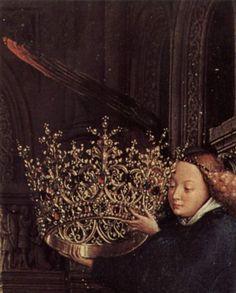 Jan van Eyck, detail, The Virgin of Chancellor Rolin, 1435