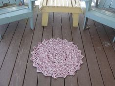 This rug measures in diameter. It is rose and cream. It is machine washable and can be put in the dryer. Doily Rug, Doilies, Scatter Rugs, All Things Purple, Rose, Handmade, Pink, Roses, Craft