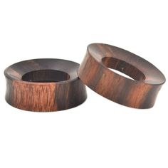 BROWN SONO WOOD TUNNELS THICK RIMMED EAR PLUGS ORGANIC GAUGES 25mm-50mm PAIR