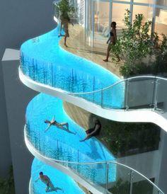 Glass Balcony Pools at Aquaria Grande Residential Tower in Mumbai, India