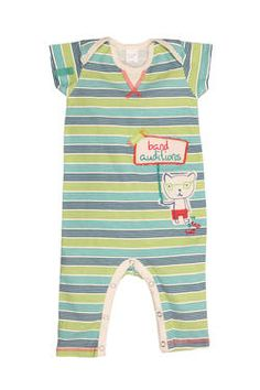 "Newborn boys' short-sleeved babygrow in a fun ""DJ Stripe"" print, finished with a Naartjie Kids SA applique and label. 100% cotton excluding trims."