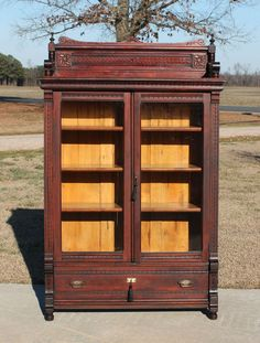 Eastlake Victorian Walnut Bookcase Display Cabinet w Gallery & Keys c1880  #Victorian