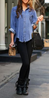 chambray top, black, booties, and coin purse style black handbag with gold hardware. yes.