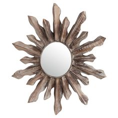 Crafted from wood and featuring a sunburst-inspired frame, this chic wall mirror adds a touch of natural style to your decor.  Produ...
