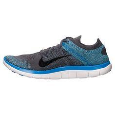 91dd88a691f Nike Free 4.0 Flyknit Mens Running Shoes Photo Blue Dark Grey Black 631053  014