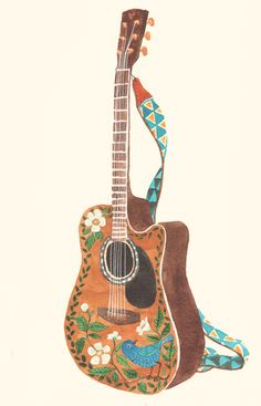 Guitar Illustration by Oana Befort http://oanabefort.com/