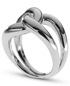 Michael Kors Ring, Silver-Tone Twisted Knot Ring - Fashion Rings - Jewelry & Watches - Macy's