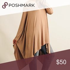 Flowy tunic top woman's and plus size Mocha in color flowy over size and suppose to fit like this. Split neckline handkerchief hemline long sleeves.  Will have our tags attached boutique cotton and poly blend. Tops Tunics