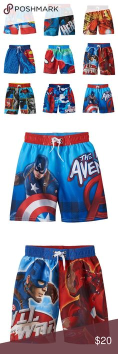 Boys Character Swim Trunks Size 4/5 CHOOSE TWO! Boys Size 4/5  (They are all size 4/5, not size 4 or size 5) Character Swimsuits, brand new, retail $24 each Choose any two for the listed price! To purchase a different quantity, please message me.  I currently have over 10,000 brand new items for everyone in the family.  Please message me if you are looking for something in a particular size. I can send photos and create a custom bundle for you.  Batman, Superman, Spider-Man, Avengers, Capt…