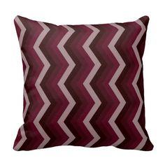 Geometric ZigZag Throw Pillow Shades of Burgundy