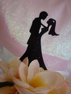 Dancing Bridal Silhouette With Veil Cake Topper Silhouettes Cake