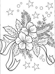 Embroidery patterns christmas printables ideas for 2019 Christmas Coloring Pages, Coloring Book Pages, Printable Coloring Pages, Christmas Colors, Christmas Art, Xmas, Christmas Flowers, Winter Flowers, Christmas Holidays