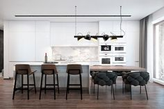 Contemporary apartment situated in Kiev, Ukraine, designed for a young family by Diff. Kitchen Island And Table Combo, Modern Kitchen Island, Modern Kitchen Cabinets, Kitchen Dinning, Kitchen Interior, Kitchen Design, Dining Room, Kitchen Layout, Kitchen Tips