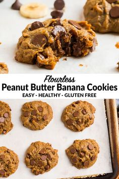 Jan 2020 - Super soft and chewy Healthy Peanut Butter Banana Cookies with Chocolate Chips. EASY recipe made with no sugar and no flour. These flourless cookies are gluten free, sugar free, and fully loaded with peanut butter and chocolate! Peanut Butter Banana Cookies, Banana Chocolate Chip Cookies, Healthy Peanut Butter, Chocolate Chips, Healthy Cookie Recipes, Banana Recipes, Healthy Cookies, Healthy Snacks, Healthy Desserts With Bananas
