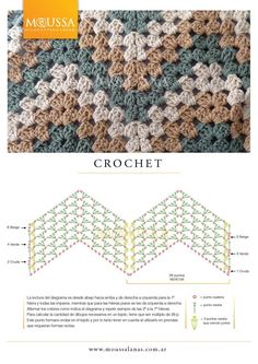 Granny Ripple pattern diagram #crochet #stitch