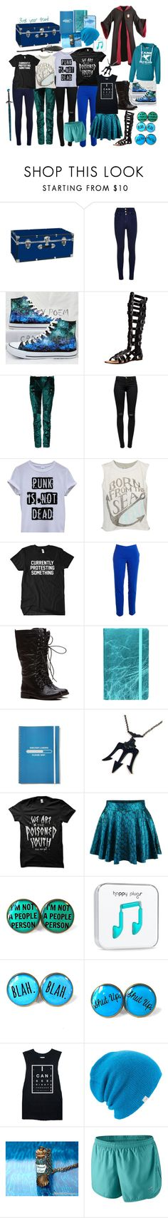 """Daughter of Poseidon at Hogwarts"" by half-blood-outfits ❤ liked on Polyvore featuring Converse, Madden Girl, Balmain, J Brand, Vince Camuto, Topshop, Coal, Disney and NIKE"