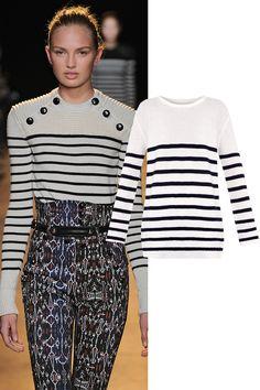 MiH Jeans Slouch Breton-Stripe Wool Sweater, $205; matchesfashion.com   - ELLE.com