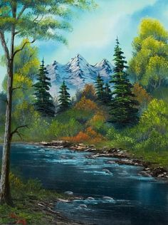 Ross painting - used to watch him on PBS! His voice . Bob Ross painting - used to watch him on PBS! His voice .Bob Ross painting - used to watch him on PBS! His voice . Easy Landscape Paintings, Nature Paintings, Easy Paintings, Watercolor Landscape, Beautiful Paintings, Landscape Art, Acrylic Landscape Painting, Painting Canvas, Mountain Paintings