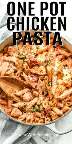 One pot pasta meals are my favorite easy dinner! Have this one pot chicken pasta on the table in 30 mins with only one dish! Made with creamy garlic, cheese and tomato sauce it is irresistible! recipes easy One Pot Pasta with Chicken - Spend With Pennies Chicken Pasta Recipes, Easy Pasta Recipes, Easy Healthy Recipes, Easy Dinner Recipes, Crockpot Recipes, Vegetarian Recipes, Dessert Recipes, Chicken Pasta Tomato Sauce, Chicken Pasta Easy