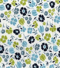 DS Quilts Meadow Lark Tossed Floral Light Blue Fabric