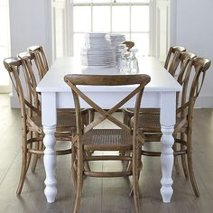 French Bistro chair - natural with chunky table