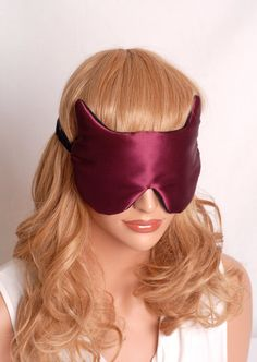 Silk Eye Mask Raw Silk and Charmeuse Wine & by AdorabellaBaby, $27.99