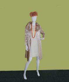 1960s Brocade Evening Coat Shawl Collar Gold Swing by MadgesHatBox