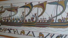 Les drakkars de la tapisserie de Bayeux. Broderies au point de Bayeux.. 1989