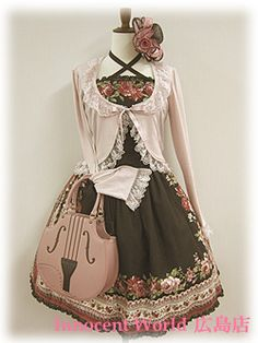 Black Gothic Lolita Dress with Pink Accents and Accesories