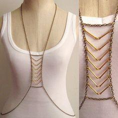 Chevron Gold Bar Body Chain Harness SAN387 by SultryAffair on Etsy, $45.00