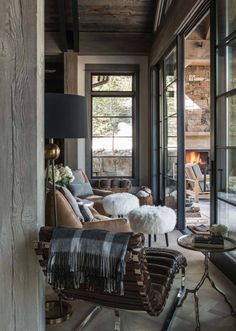 You can find this modern chalet design in the USA. The chalet is located near the ski resort. So, there's a sauna, heated pool, and outdoor terrace. Living Spaces, Living Room, Rustic Interiors, Modern Rustic, Rustic Contemporary, Modern Lodge, Contemporary Furniture, Rustic Wood, Rustic Decor