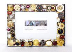 Mosaik Bilderrahmen mit Schmuck Knöpfen Anhängern gold von LonasART