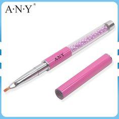 Fashion Design ANY Pearl Acrylic Handle High-Tech Nylon Hair Purple Metal Cap Nail Art One Stroke Brush 1# 5PCS/Lot