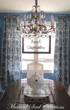 Miss Mustard Seed's drapes make her room. And I was over drapes for years. These look teal to me but I think she is more of a royal to navy girl. How To Make Curtains, Diy Curtains, Curtain Fabric, Panel Curtains, White Curtains, Dining Room Curtains, Dining Room Table, Dining Rooms, Window Coverings
