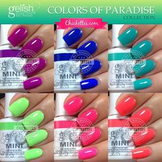Who's ready for summer??!! I am! The new Gelish Colors of Paradise collection is full of fun, bright colors for the summer season.  I know that many of you have been anticipating these swatch…