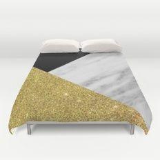 Marble & Gold Geometry Duvet Cover