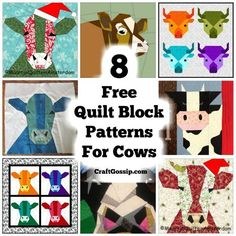 Block Patterns – Cows – Do it yourself Farm Quilt Patterns, Quilt Square Patterns, Mug Rug Patterns, Paper Piecing Patterns, Square Quilt, Style Patterns, Quilting Patterns, Art Quilting, Machine Quilting